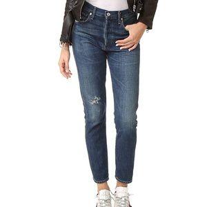 Liya High Rise Classic Crop Jeans in Wiltern
